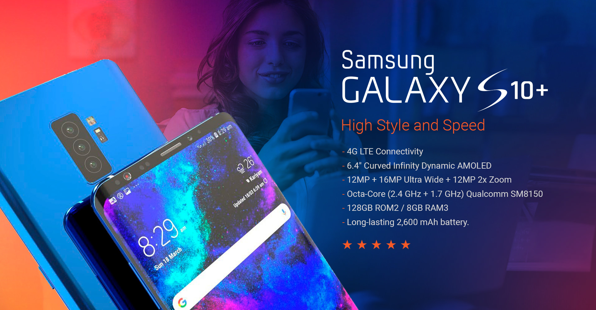 Brazcom Wireless Banner Galaxy S10 Plus